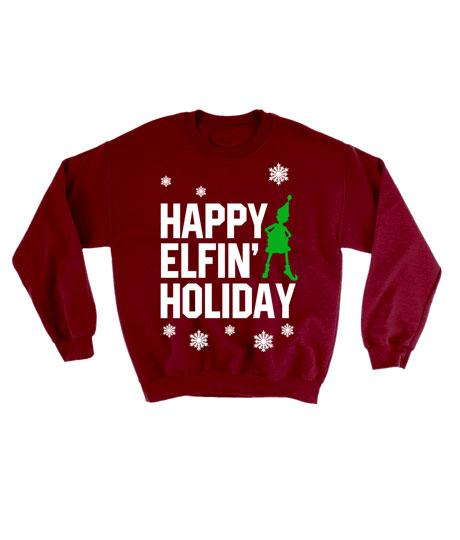Happy Elfin Holiday Ugly Christmas Sweatshirt Unisex