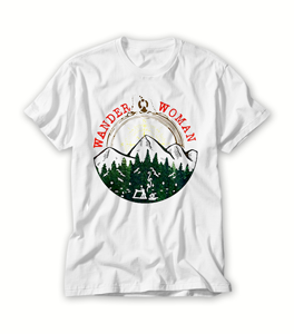 Wander woman hiking mountain forest camping T shirt