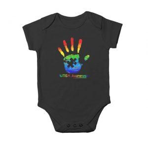 Colorful hand autism awarenes Baby Onesie