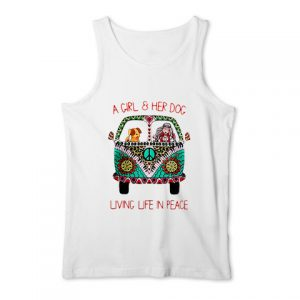 A girl and her dog living life in peace Tank Top