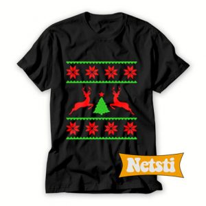 Deer christmas black Chic Fashion T Shirt