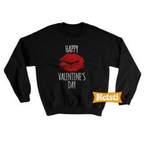 Happy Valentines Lipprint Valentines Day Chic Fashion Sweatshirt