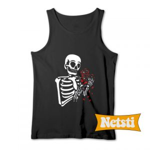 Skeleton With Roses Chic Fashion Tank Top