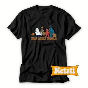 Vintage Sesame Street Here Comes Trouble Halloween Chic Fashion T Shirt