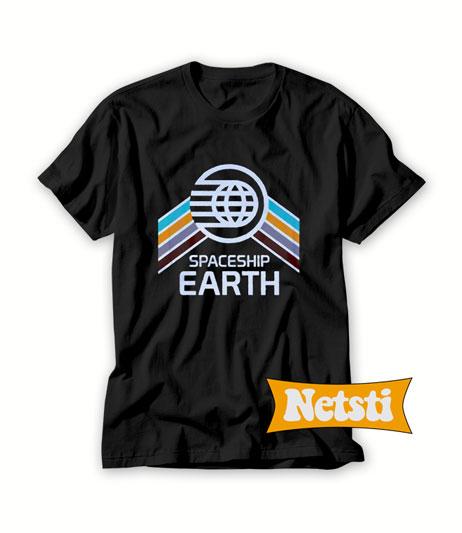 Vintage Spaceship Earth with Distressed Logo Chic Fashion T Shirt