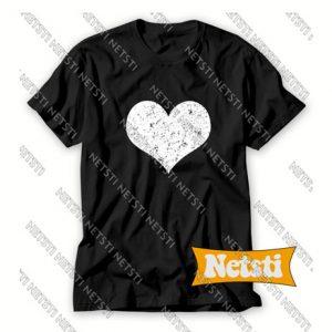 Cute Love White Distressed Heart Chic Fashion T Shirt