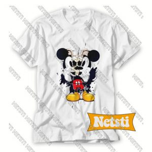 Mickey Mouse Torn Skull Chic Fashion T Shirt